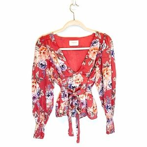 Auguste The Label Pink Floral Peplum Blouse